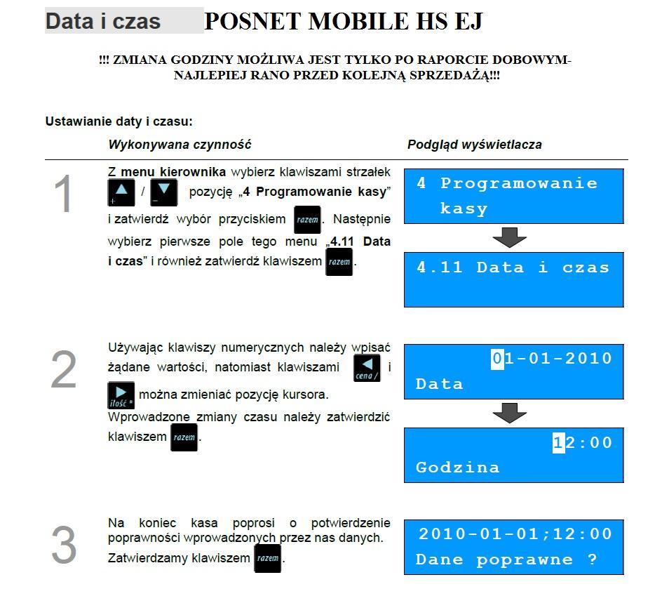 Zmiana Godziny w kasie Posnet Mobile HJ